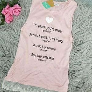 {New} NWT Heart I'm Yours Pink Graphic Tank Top